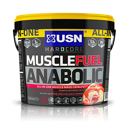 USN Muscle Fuel Anabolic Strawberry 4KG, Performance Boosting Muscle Gain Protein Shake Powder