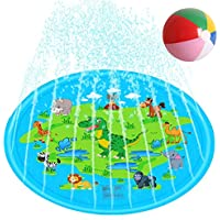 Jucoicu Sprinkler Inflatable Kiddie Swimming Pool Play Mat for Kids