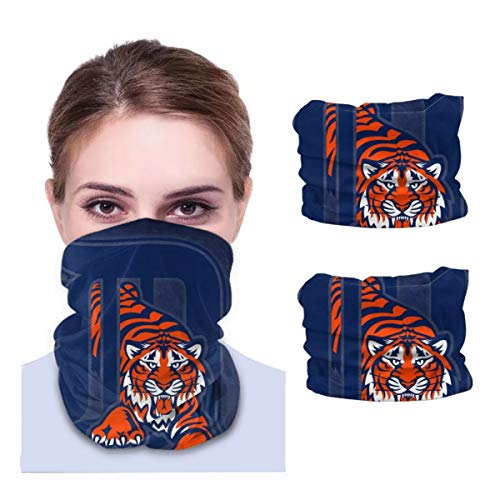 Pinakoli Detroit Tigers 2 Pieces Neck Gaiter Multiuse Headbands Sun Proof Headband Bandana