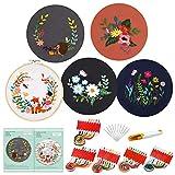 Pllieay - Juego de 5 juegos de bordado con patrón e instrucciones, 5 prendas de bordado con patrón floral, 1 Pieza Bambú Círculo, hilos de colores y herramientas