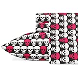 Betsey Johnson Performance Collection Bed Sheet Set - Lightweight, Breathable, Temperature Regulating Fabric. Super Soft, Easy Care Seasons, King, Skulls