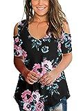 Floral T Shirts for Women Short Sleeve Teen Girls Open Shoulder Tee Casual Flowy L