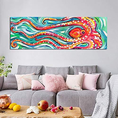 KWzEQ Niedliche Oktopus-Meerestierölgemälde-Moderne Karikatur-Leinwandplakatkinderzimmerdekoration,Rahmenlose Malerei,45x135cm