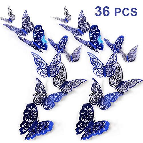 36 Stück 3D Schmetterling Wand Aufkleber Wandtattoo Fliegen Dekor DIY Wandkunst Aufkleber Schlafzimmer Baby Dekor Abziehbilder Abnehmbare Dekorative Papier Wandbilder Blau (36)