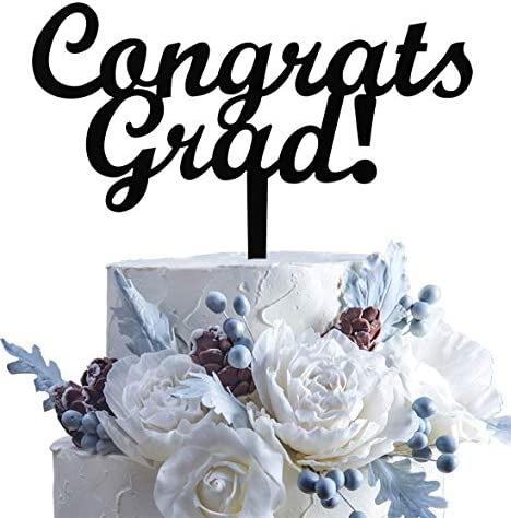 Black Congrats Grad Cake Topper Class of 2021 Cake Topper 2021 Graduate Party Supplies Decorations product image