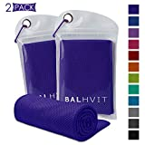 Balhvit 2 Pack Cooling Towel, Ice Towel, Microfiber Towel for Instant Cooling Relief, Cool Cold Towel for Yoga Beach Golf Travel Gym Sports Swimming Camping (Dark Purple, 47x14inch)