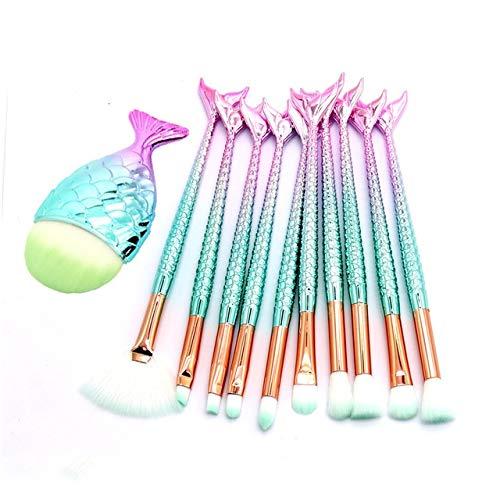 PoplarSun Sirène Maquillage Pinceaux for la Fondation Poudre Blush Fard à paupières Correcteur Lèvres Yeux Maquillage du Visage Outils Up cosmétiques Brosse beauté (Handle Color : 11Pcs Blue Pink 02)
