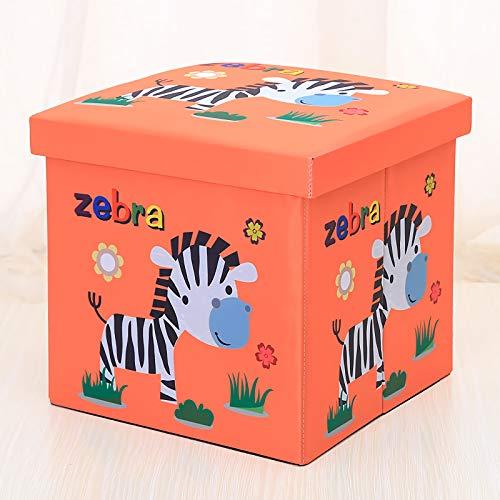 Sitzbox Kinder, Faltbare Aufbewahrungsbox Kinder mit Stauraum - Storage Box - Organisator - Cartoon Aufbewahrungswürfel Leinwand faltbare Spielzeug Kiste mit Deckel(Zebra)