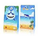 TONIFUL Shark Candy Favor Shark Party Bags Goodie Gift Treat Bags for Sea Ocean Themed Party Ideas Kids Birthday Decoration Supplies