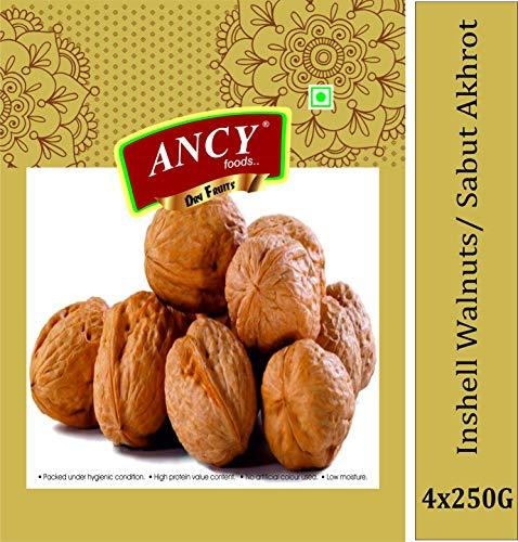Ancy Premium Quality Kashmiri Walnut with Shell, Akhrot 1kg (4x250g)