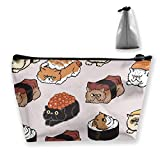 Travel Makeup Bag Japanese Light Bulb Sushi Makeup Pouch Toiletry Storage Clutch Organizer with Zipper for Women & Men