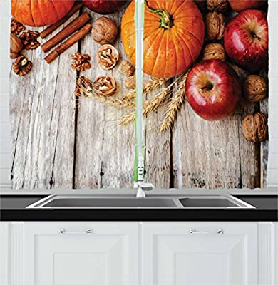"""Ambesonne Fruits Kitchen Curtains, Wood Background with Pumpkin Apples Wheat Honey Nuts Farmhouse Rural, Window Drapes 2 Panel Set for Kitchen Cafe Decor, 55"""" X 39"""", Brown Orange"""