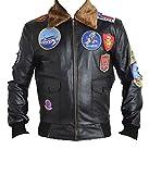 Bestzo Top Gun Veste en cuir véritable pour homme - - Large