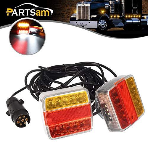 PARTSAM Kit de luces traseras para remolque con cable magnético, placa universal de 2 x 14 LED 12V,...