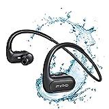 Écouteurs sans fil, tour de cou Bluetooth IPX8, étanche à l'eau avec suppression du bruit, casque de sport portable pour la course à pied, le cyclisme, la gym, la plongée dans l'eau (Noir)