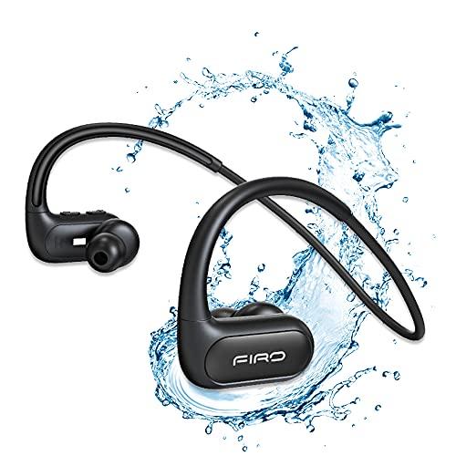 Auriculares inalámbricos, con banda para el cuello, con Bluetooth, IPX8, resistentes al agua, con cancelación de ruido, para deportes, reproductor de música (negro)