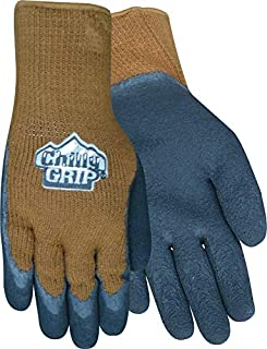 Red Steer Chilly Grip A315 Black/Brown Large Acrylic Full Fingered Work & General Purpose Gloves - Rubber Foam Coating - A315-L [PRICE is per PAIR]