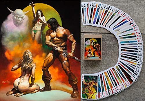 FlonzGift Fantasy Kartenspielen (Poker 54 Karten alle Anders) Vintage Retro Fantasy SciFi Fiction Comic Book Art by Boris Valejo