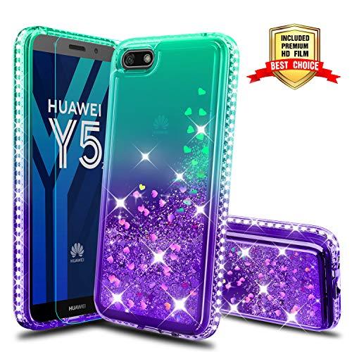 Atump Huawei Y5 2018 Glitzer Handyhülle mit HD Folie Schutzfolie, Schutzfolie Cover TPU Bumper Silikon Flüssigkeit Treibsand Schutzhülle für Huawei Y5 2018/Honor 7s Handy Hüllen Green/Purple