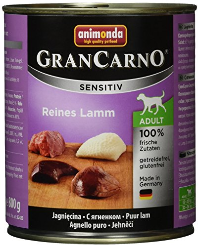 animonda GranCarno Hundefutter Adult Sensitiv, Nassfutter für ausgewachsene Hunde, Reines Lamm, 6 x 800 g