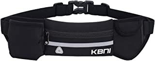 KBNI Running Waist Packs Bag with 2 Large Pockets and 1x10oz Water Bottle Holder for Running Hiking Cycling Climbing Adjustable belt for Men and Women Large Zipper Pocket Fit for iPhone and Android