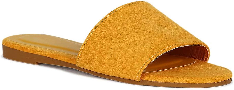 Alrisco Women Wide Band Flat Slide Sandal RE88 - Marigold Faux Suede (Size: 6.5)