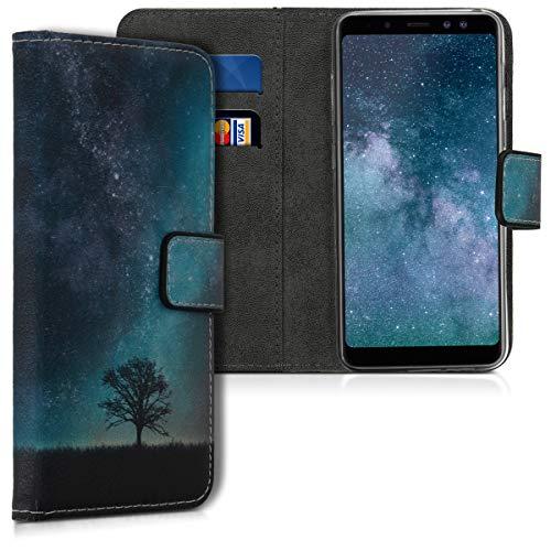 kwmobile Hülle kompatibel mit Samsung Galaxy A8 (2018) - Kunstleder Wallet Hülle mit Kartenfächern Stand Galaxie Baum Wiese Blau Grau Schwarz