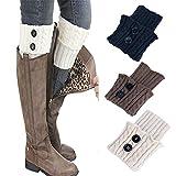 ZYUEER 3 pair socks Femmes Hiver Chaud Épais Crochet Tricoté Botte Manchette Chaussette Jambe Courte Warmer Boot Cuff Sock Short Leg Warmer pour bottes (Multicolore F)