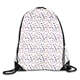 Drawstring Bag Sport Gym Bag Butterflies and Wildflowers Pattern Blooming Summer Ornation Corsage Feminine Backpack Mouth Gym Sack Zaino Shoulder Bags for Men & Women