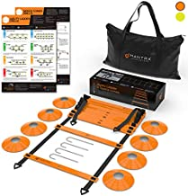 20ft Agility Ladder & Speed Cones Training Set - Exercise Workout Equipment To Boost Fitness & Increase Quick Footwork - Kit for Soccer, Lacrosse, Hockey & Basketball - With Carry Bag & Drill Charts
