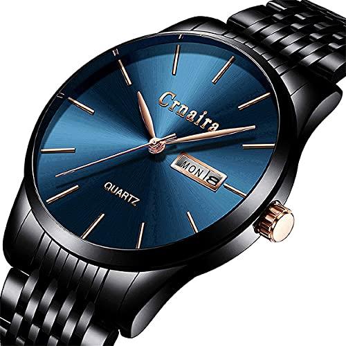 腕時計、メンズ腕時計 シンプル ビジネス クラシック ファッション 超薄型 ブラック ダークブルー ステンレスストラップ 防水アナログ クォーツ時計 ミニマリスト