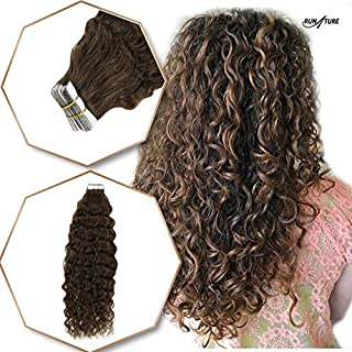 RUNATURE 100% Remy Premium Curly Wavy Tape In Human Hair Extensions 22