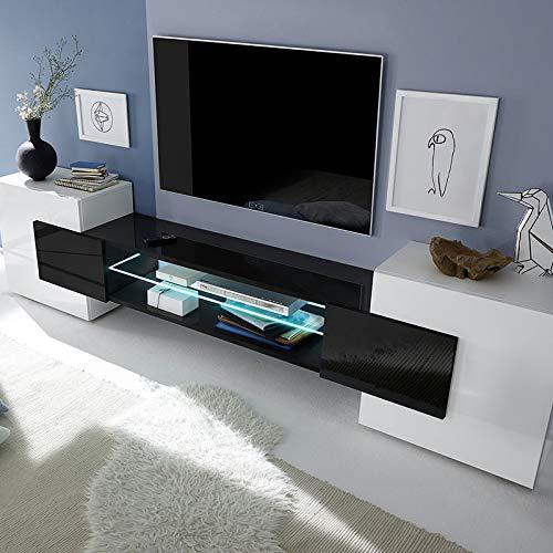M-012 TV-Schrank Luxor weiß und schwarz lackiert, Schwarz, Sans éclairage