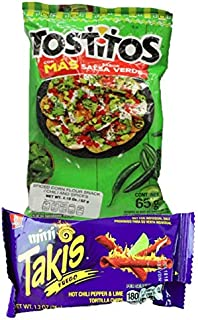Mini Takis Fuego & Tostitos (37 Pack) Barcel Mexican Version Mega Deal Popular Classic Snack Spicy Lemon Corn Chip Sticks Bag Bulk Fancy Appetizer grab varieties & red hot flavor picante limon Bimbo