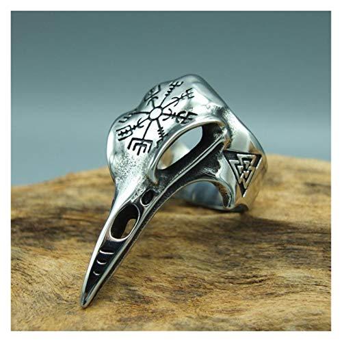 MJS Hombres Viking Ravens Ring Norse Mitología Odin Cuervo Anillo 316L Anillos de Acero Inoxidable Nordic Amulet Biker Regalos (Talla : 14)