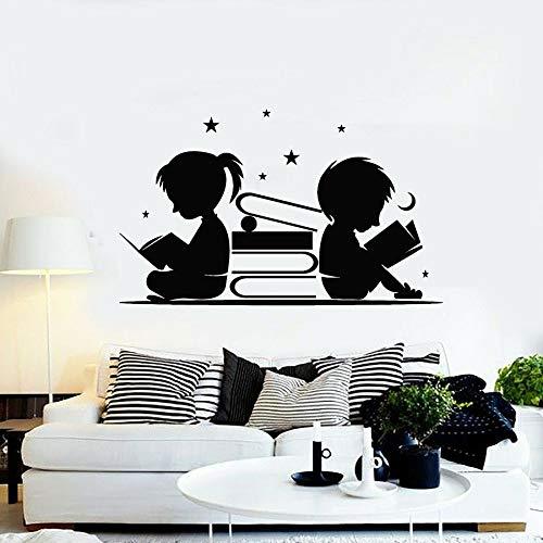 yaonuli muursticker kinderkamer decoratie lezen boeken sterren maan vinyl sticker bibliotheek