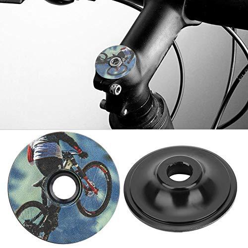 Bike Headset Cover 2PCS Aluminium Alloy Headset Stem Top Cap for Mountain Road Bike Fork Cover(B)