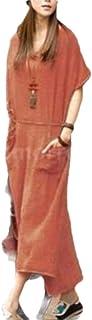neveraway Womens Summer Beach Wear Vintage V-Neck Big Pockets Plain Maxi Dress