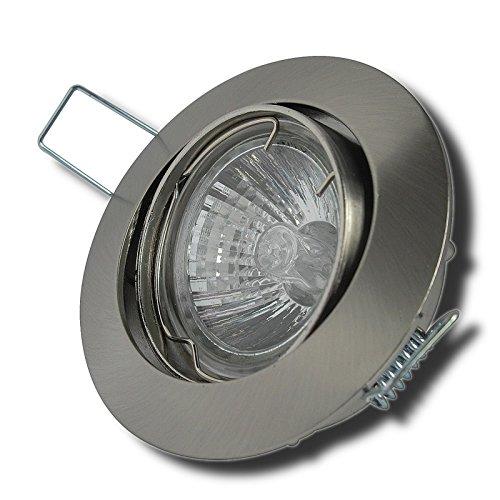 2er Set Einbaulampe Fabian / 230Volt / Farbe: Edelstahl geb. / Warmlicht/Halogen 35Watt / Rostfrei/Schwenkbar: 30° / GU10 Sockel/EEK D
