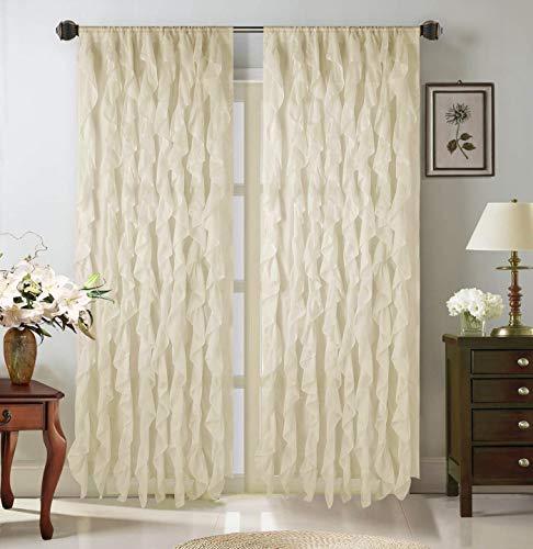 "LinenTopia 2 Ruffled Curtain Panels, Stylish Cascaded 84"" Curtain Panels, Sheer Voile Vertical Ruffled Shabby Chic Curtain Panels (Cascade, 84"", Ivory)"