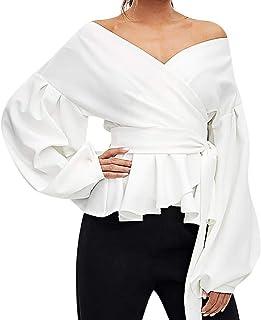 Camisa Casual De Manga Larga para Mujer Bolsillos con Cuello Abotonado Botones En La Parte Delantera Camiseta