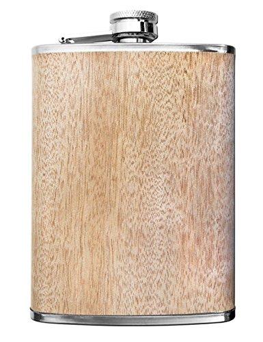 Outdoor Saxx® - Edelstahl Flachmann Wood, hochwertige Taschen-Flasche, Schnaps-Flasche in Holz-Optik, Schraub-Verschluss, Tolle Geschenk-Idee, 260ml, Holz-Design Ahorn