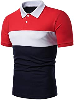 Abeaicoc Men's Down Button Lapel Sleeve Short Casual Business Color Block Golf Polo Shirt