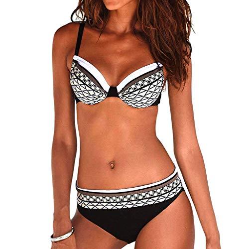 Riou Sexy Bikini Damen Set Push Up High Waist Zweiteilige Bikinis Oberteil Frau Sommer Sportlich Kleine Brüste Cups Grosse Grössen Bademode Tankinis mit Bügel für Beach Monokini (White, L)