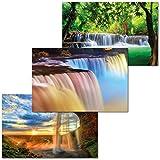 GREAT ART Set di 3 Poster XXL - Cascate Internazionali - Thailandia Islanda Nord America Tropici Colori Pastello Design Decorazione Interni da Parete Murale cadauno 140 x 100 cm