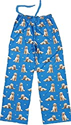 Blue pajama bottoms with a repeat patten of Goldendoodle dogs, photo