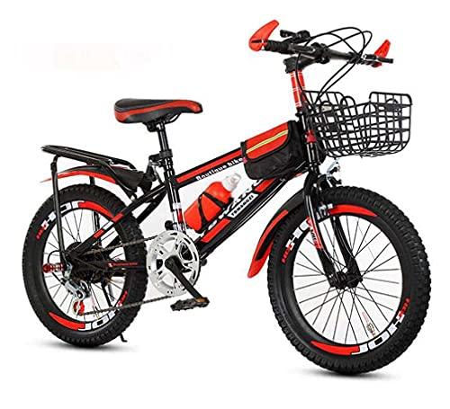 HUAQINEI Bicicleta de montaña, amortiguación y Velocidad Variable, Bicicleta de 18 Pulgadas, Bicicleta para Hombres y Mujeres, Rojo, 18