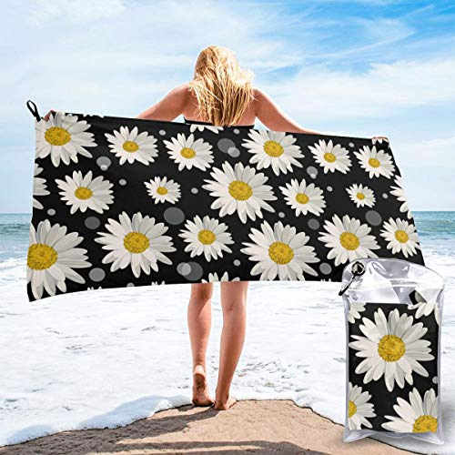 "Delerain White Daisies Microfiber Quick Dry Beach Towel, 31.5"" x 63"" with a Carrying Bag, Best Beach Towels for Swimmers, Travel, Sports, Camping, Super Absorbent, Compact & Lightweight Towel"
