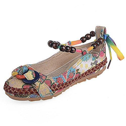 Gaorui-Perla Sandalias para Mujer de Estilo Antiguo Zapatillas Planas de Verano
