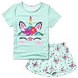 CHILDRENSTAR Girls Unicorn Pjs Pajama Sets Kids Short Sleeve Summer Cotton...